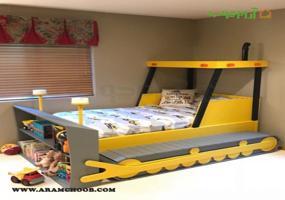 تخت دو طبقه پسرانه مدل بولدوزر